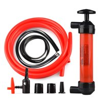 Dual Purpose Fuel Transfer Pump Kit Fluid Hand Pump with Tubes Connectors Adapters for Gas Oil Liquids