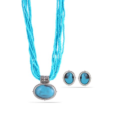 TAZZA WOMEN'S OXIDIZED ANTIQUE LOOK VINTAGE SILVER-TONE TURQUOISE SEED BEAD 1.5
