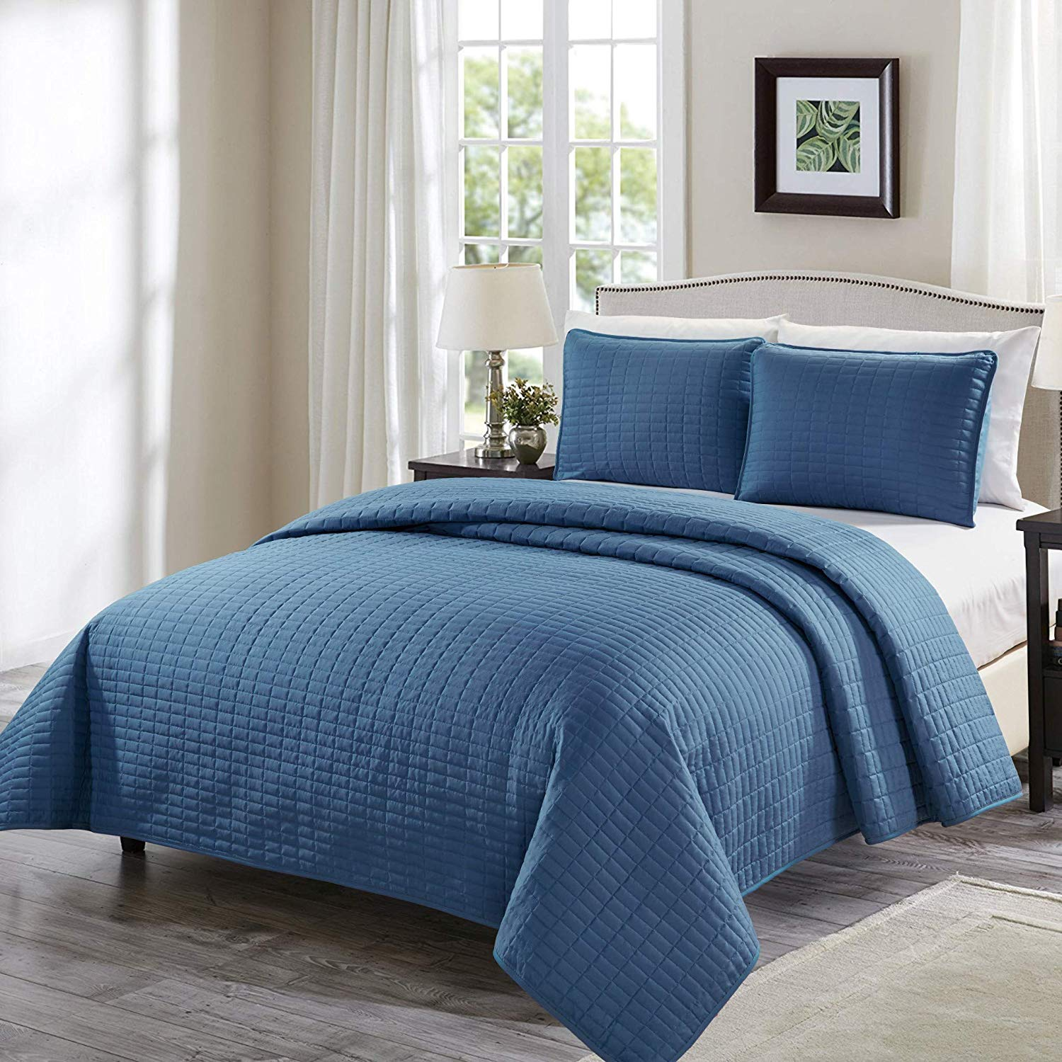 Chezmoi Collection Auburn 3-Piece Modern Quilted Solid Bedspread Coverlet Set