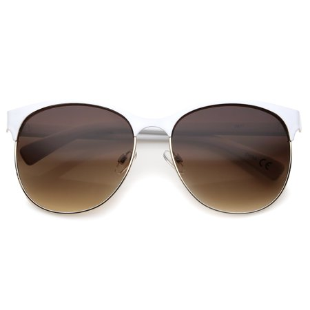 sunglassLA - Women's Fashion Two Toned Tinted Lens Half-Frame Round Sunglasses - (Amber Tinted Sunglasses)