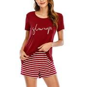 Women Short Sleeve Pajamas Set Sleepwear Striped Lounge Nightgowns Ladies 2pcs Shorts Pjs Set Summer Comfy Fashion Nightwear Suit