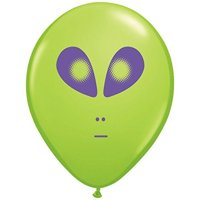 Area 51 Space Alien Print Latex Balloons, Lime Green, 25ct
