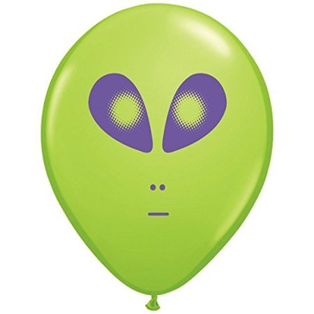 Space Alien Print Lime Green Latex Balloons 5 Count