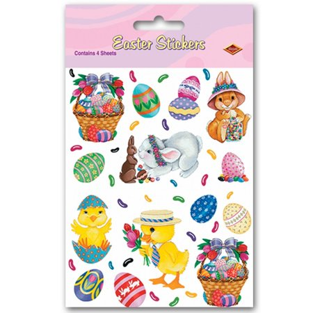 Club Pack Of 48 Easter Bunny  Basket And Egg Stickers Party Favors 7 5