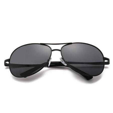 SolarUV Military Style Classic Aviator Sunglasses, Polarized, 100% UV Protection (Black frame, Black (Military Aviators)