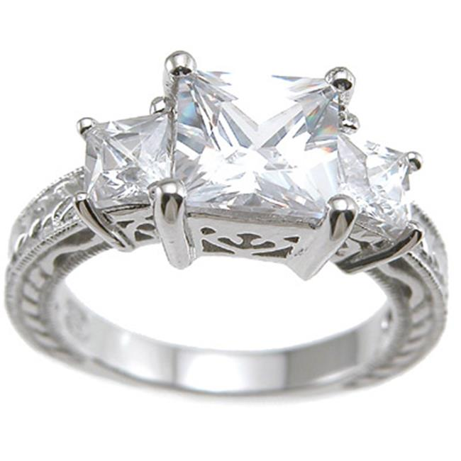 Plutus kkr6425a 925 Sterling Silver Rhodium Finish CZ Princess Antique Style Wedding Ring Size 6