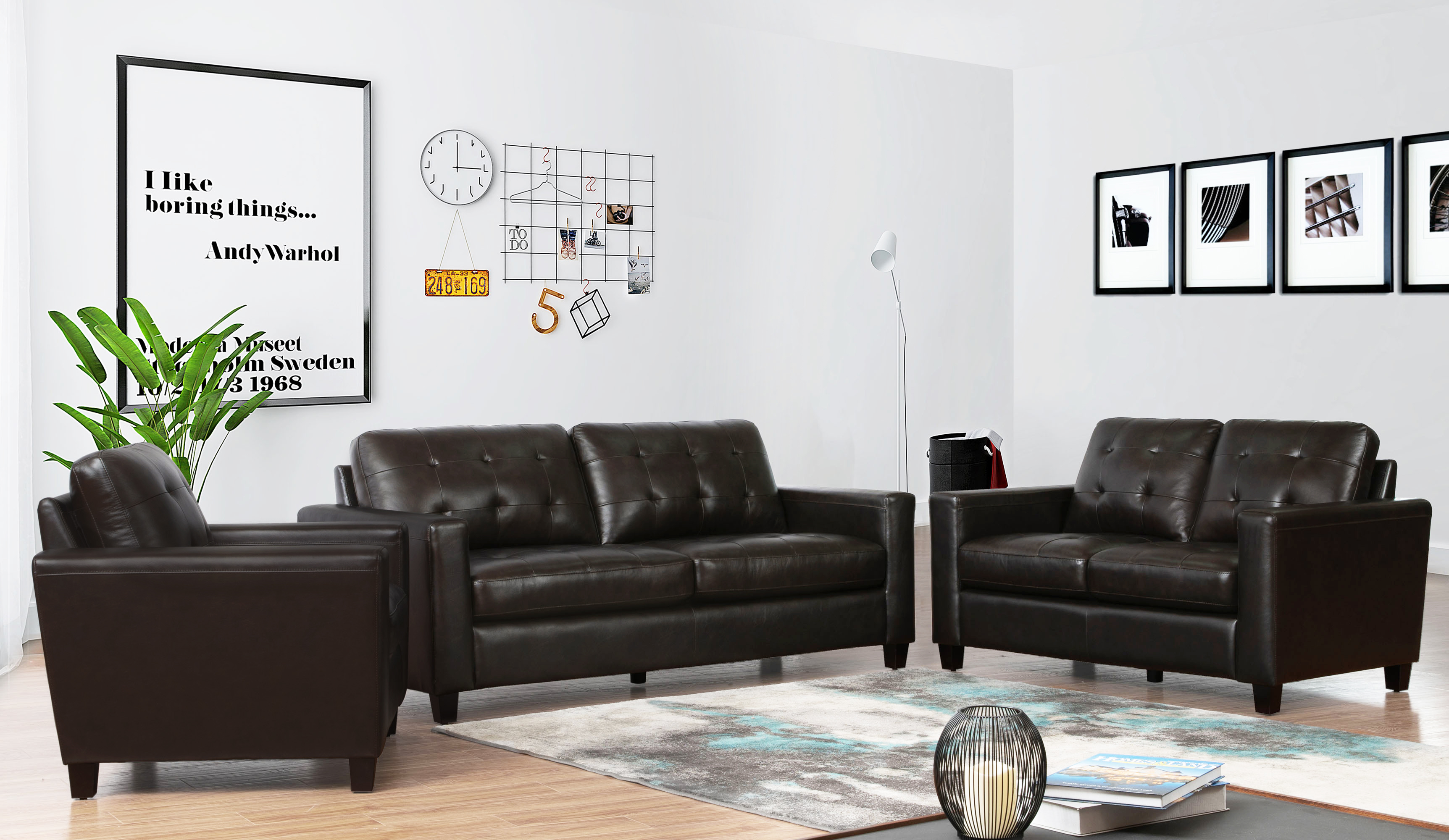 Devon Amp Claire Bryant Brown Leather Sofa Set Walmart Com