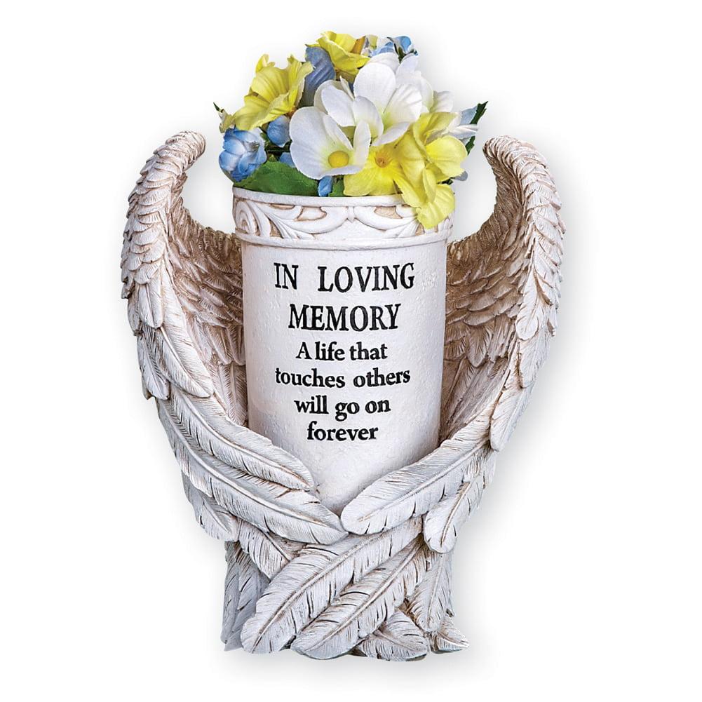 Angel Wings Memorial Vase Garden Decor Yard Stake, Beige