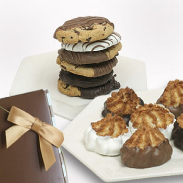 6 Chocolate Covered Macaroons And 6 Gourmet Cookies Gift Box by