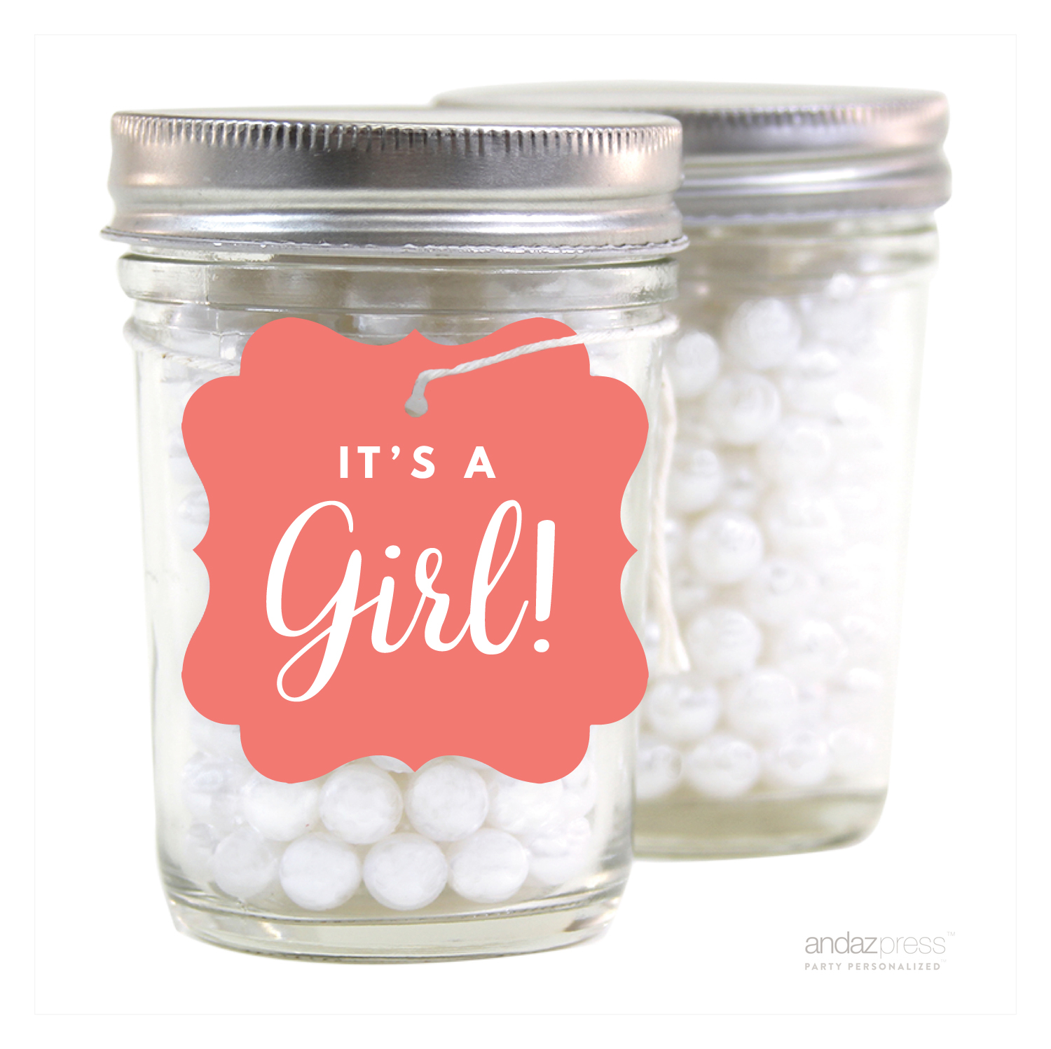 Coral It´s A Girl! Fancy Square Baby Shower Gift Tags, 24-Pack
