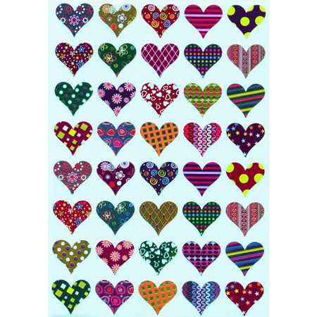 Valentines Stickers Heart shape, Assorted Patterns hearts sticker in Red, Pink, Blue, Gold, Green , Purple, Stars, Flowers, Stripes and Dots, Royal Green - 200 pack](Heart Stickers)