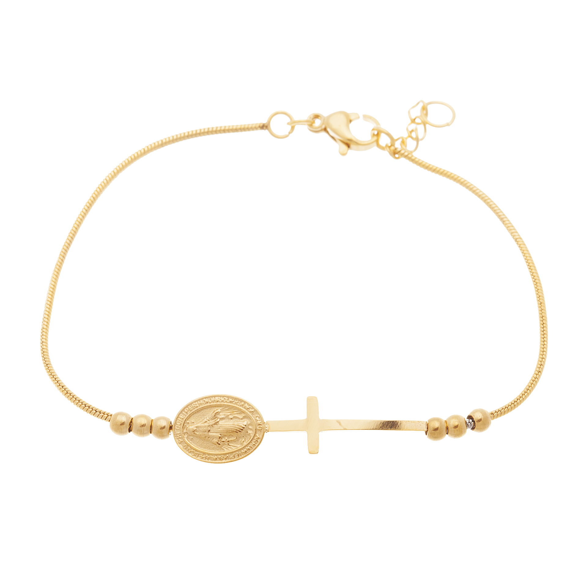 """Gold Tone Stainless Steel Heart Cross Religious Charm Snake Chain 7"""" Bracelet"""