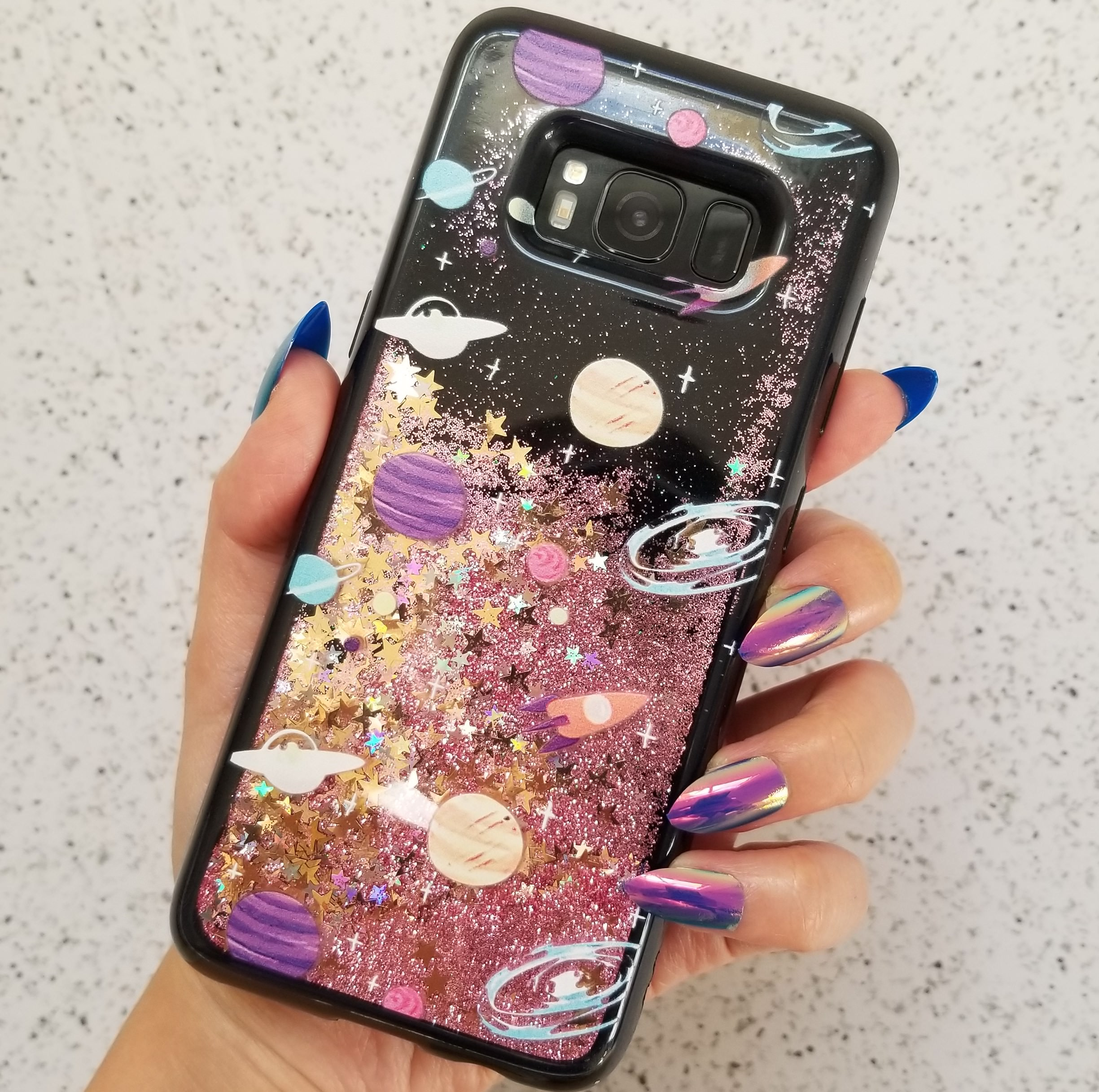 Samsung Galaxy S8 Cute 3D Outerspace Planet Floating Stars Liquid