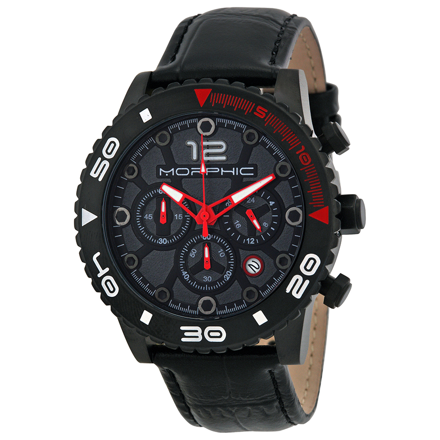 Morphic M33 Chronograph Black Dial Black Leather Mens Watch 3304
