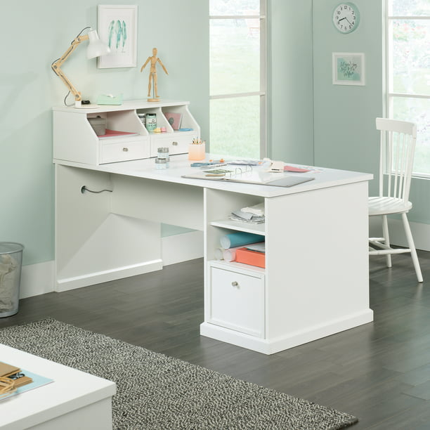 Better Homes Gardens Craftform Sewing And Craft Table With Storage Hutch Walmart Com Walmart Com