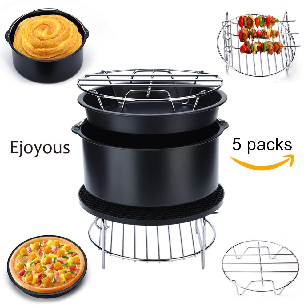 5 in 1 Multifunctional Air Fryer Accessories Set Kit Parts Metal Holder Skewer Rack Cake Barrel Silicone Mat... by
