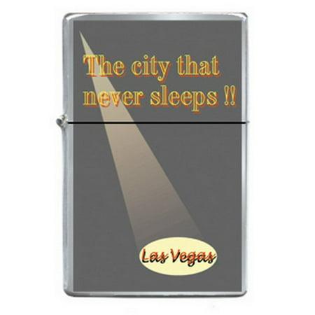 Las Vegas City Never Sleeps Spotlight Refillable Metal Lighter