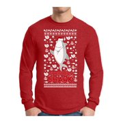 Awkward Styles Xmas Shark in Hat Ugly Christmas Sweater Long Sleeve T-shirt For Men
