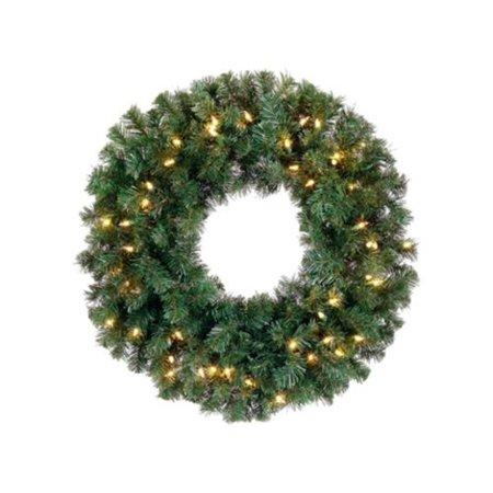 Alaskan Pine Wreath Clear Lights - 12