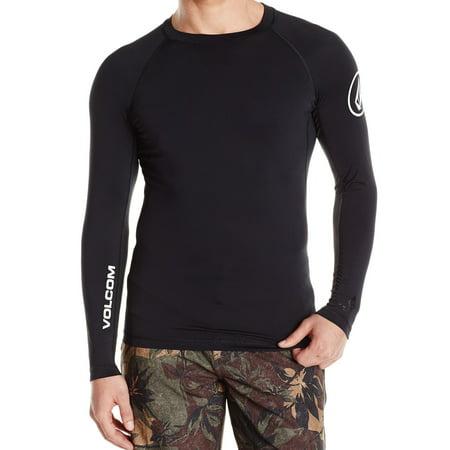Volcom NEW Black Mens Size Large L Logo Print Rashguard Swimwear (Swimming Trunks And Rash Guard)