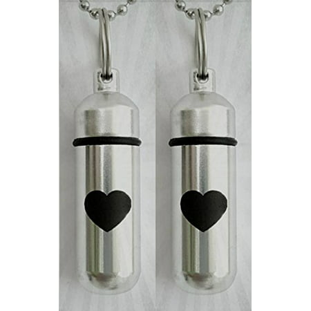 TWO Silver CREMATION URN Keepsakes with Large ENGRAVED Heart - Includes Velvet Pouches, Ball-Chains & Fill Kit (Large Keepsake)