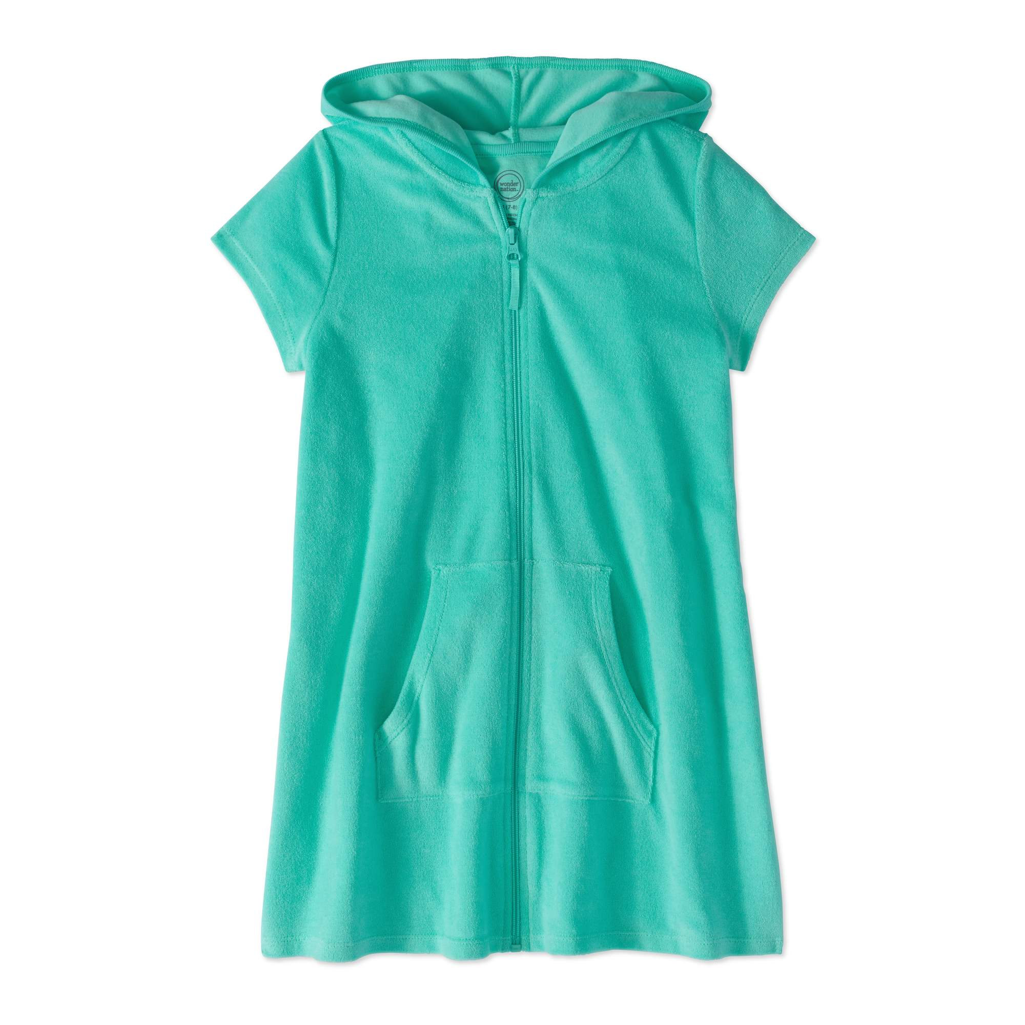 Wonder Nation Girl's Zip Front Hooded Swim Cover Up