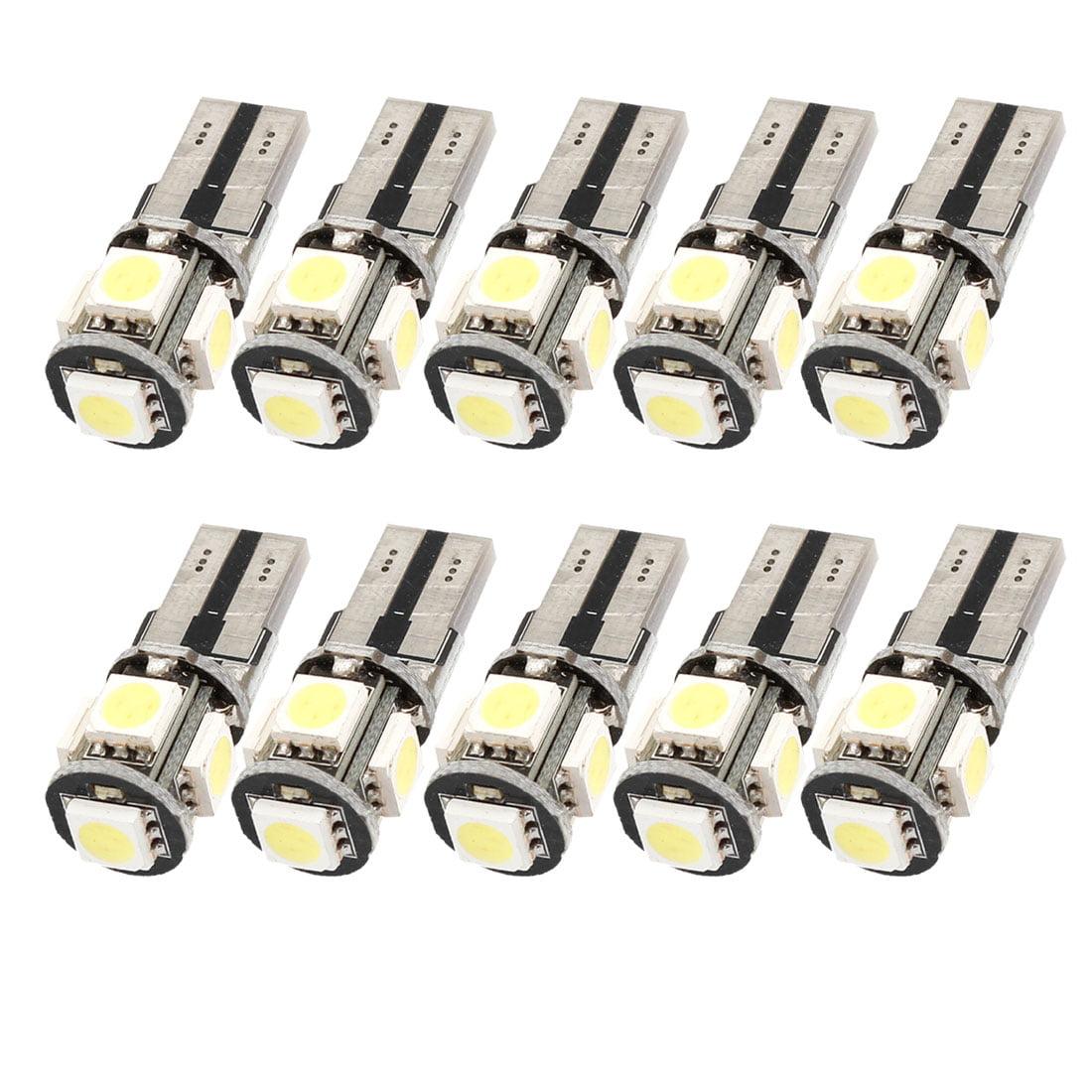 Unique Bargains 10 Pcs Canbus NO Error Free T10 5 SMD 5050  SIDE TAIL Light bulbs White