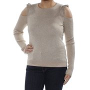 DKNY Womens Gold Ruffled Cold Shoulder Metallic Long Sleeve Crew Neck Tunic Sweater  Size: S