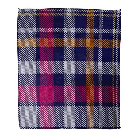 ASHLEIGH Flannel Throw Blanket Dark Checkered Checkers and Stripes Hipster Collection for Dresses Plaid Pattern Printing Napkins White Blue Red 50x60 Inch Lightweight Cozy Plush Fluffy Warm Fuzzy Soft - Napkin Printing