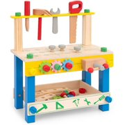 ROBUD Kids Tool Bench Small Wooden Workbench Play Work Bench Workshop Pretend Play Construction Toy Building Tools Set for Toddlers