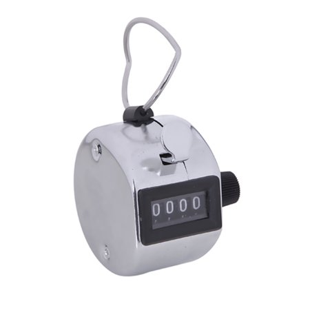 HDE Handheld 4 Digit Number Counter Mechanical Tally Lap Tracker Manual Clicker (Chrome)