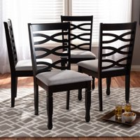 Set of 4 Baxton Studio Lanier Modern and Contemporary Gray Fabric Upholstered Espresso Brown Finished Wood Dining Chairs