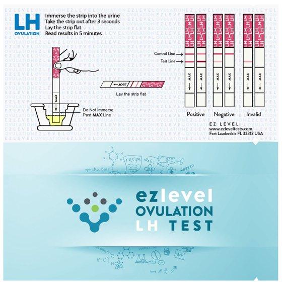 EZ Level 50 Ovulation Test Strips LH Surge OPK Predictor Kit (50 LH)