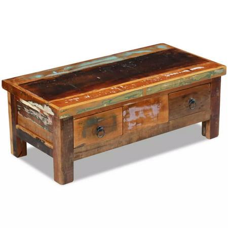 "Mgaxyff Coffee Table Drawers Solid Reclaimed Wood 35.4""x17.7""x13.8"""