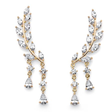 Marquise-Cut Crystal Ear Climber Earrings in Gold Tone with Round and Pear Drop Accents ()