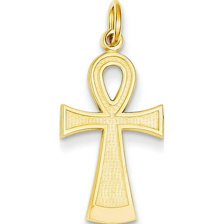 14k Yellow Gold Ankh Cross (12x28mm) Pendant / -