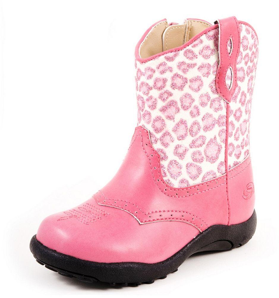 Roper Western Boots Girls Kids Cheetah Child Pink 09-017-...