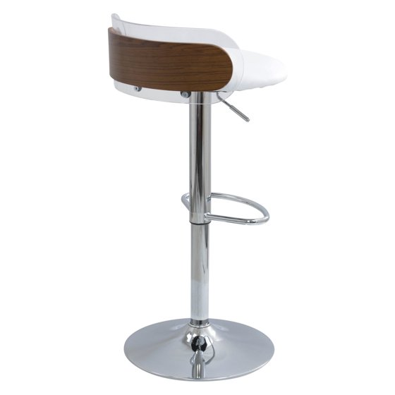 Brilliant Arc Contemporary Adjustable Barstool In Walnut Wood Clear Acrylic And White Faux Leather By Lumisource Evergreenethics Interior Chair Design Evergreenethicsorg
