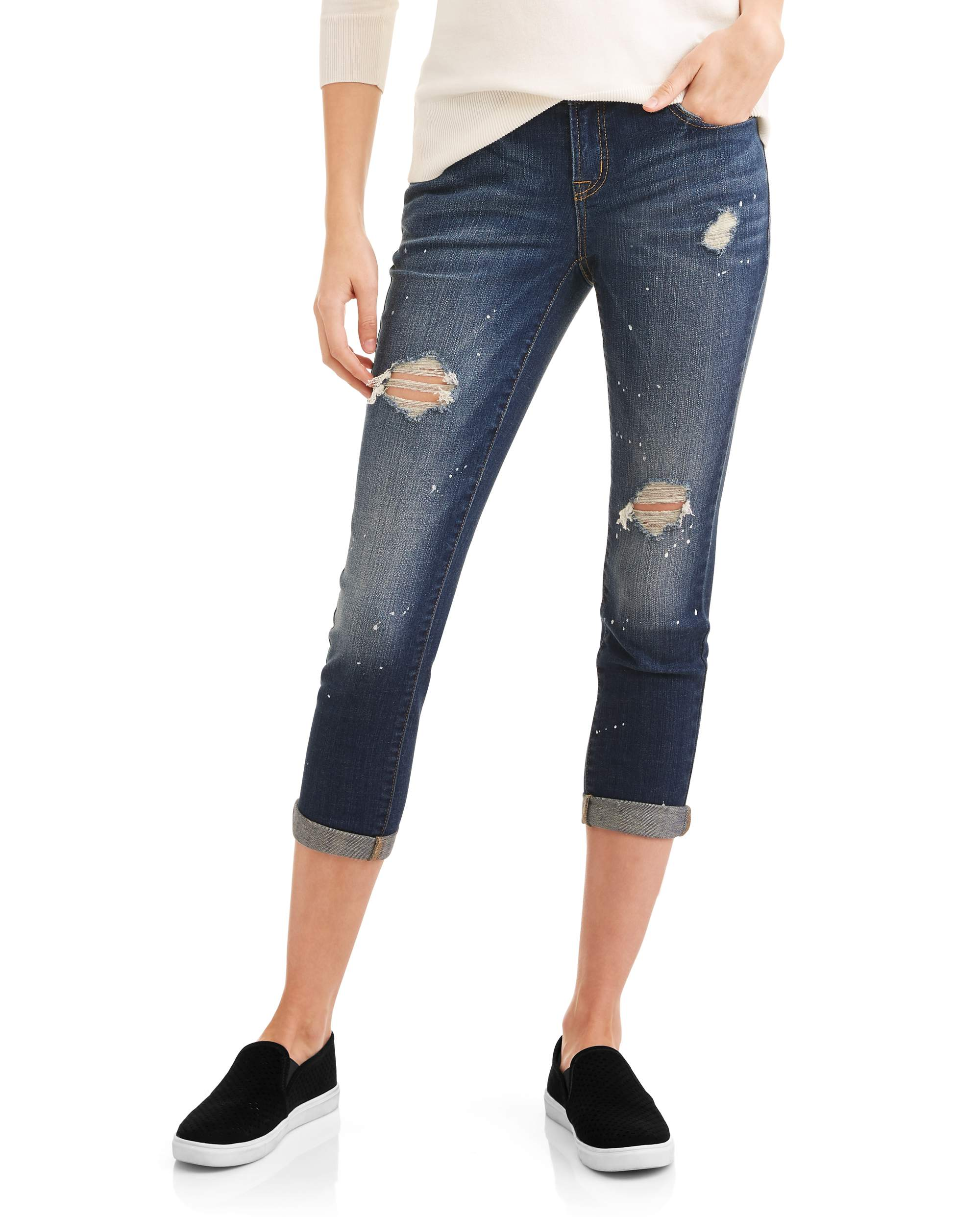 Women's Destructed Cropped Jean with Cuff