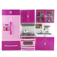 Doll Size Kitchen Play Set Toy Kitchen Refrigerator Oven Sink 3 Piece Battery Operated