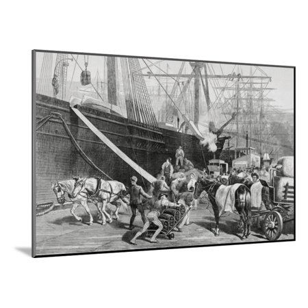 - Dock Workers Loading Horse Drawn Goods to Ship Wood Mounted Print Wall Art