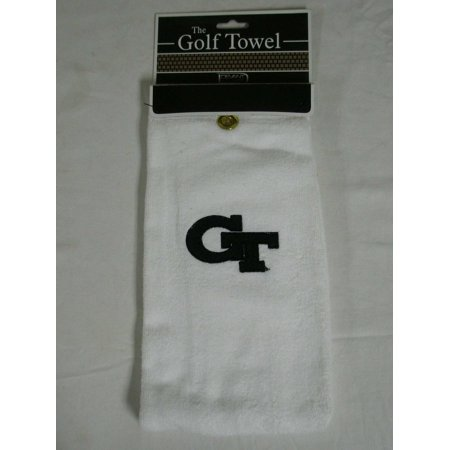 Devant Collegiate Golf Towel (Georgia Tech Yellow Jackets) White Tri-Fold NEW