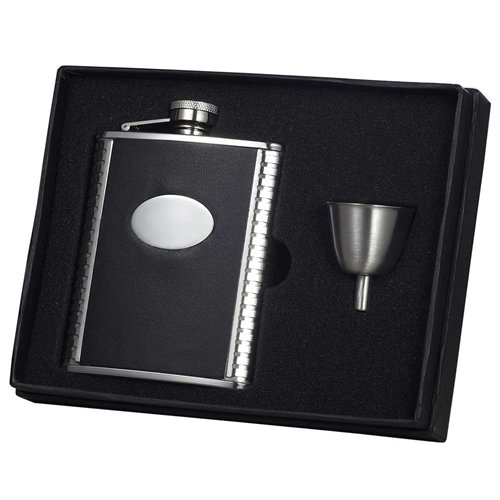 Visol Products Tux Ribbed Design Leather Flask Gift Set