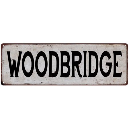 WOODBRIDGE Vintage Look Rustic Metal 8x24 Sign City State 108240041308 - Party City Woodbridge