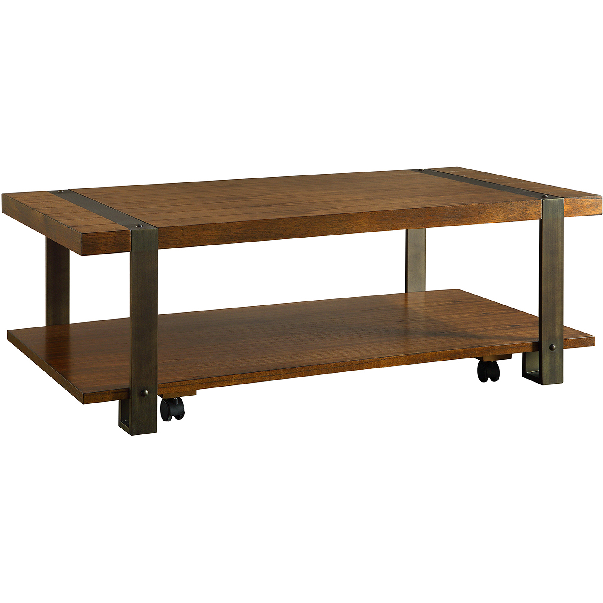 Industrial Collection Rectangular Coffee Table with Casters Light