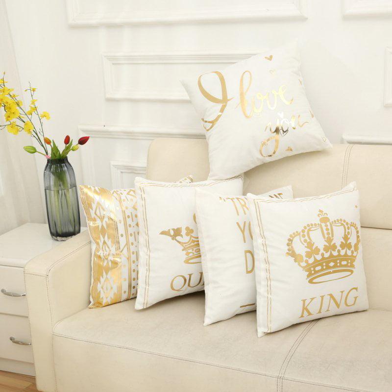 "ENJOY 45*45 ""Queen King"" Printed Bronzing Pillowcase Home Office Sofa Pillow Case Decorative Cushion Covers"