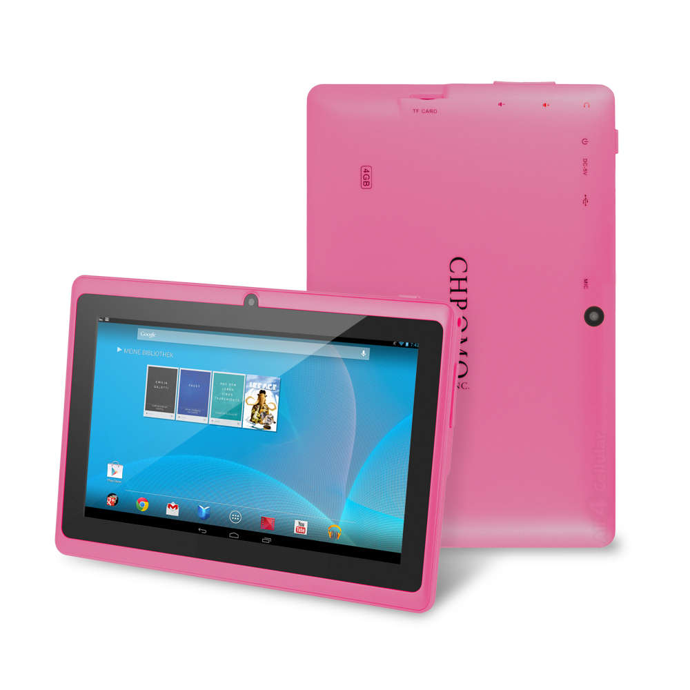 """Chromo Inc 7"""" Tablet Google Android 4.4 with Touchscreen, Camera, 1024x600 Resolution Netflix, Skype, 3D Games with TUV quality certification- Pink"""