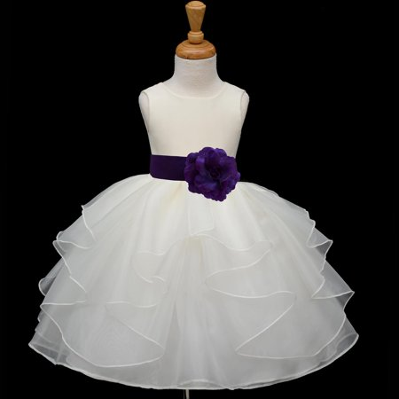 Ekidsbridal Shimmering Organza Ivory Flower Girl Dress Weddings Layers Handmade Summer Easter Dress Special Occasions Pageant Toddler Girl's Clothing Holiday Bridal Baptism 4613S purple 2 ()