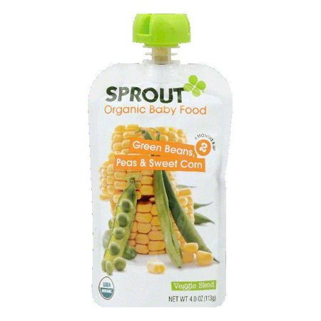 Green Sprouts Organic Terry - Sprout 6 Months & Up 2 Peas & Sweet Corn Green Beans Organic Baby Food, 4 OZ (Pack of 10)