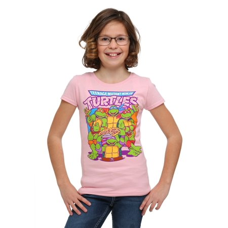 Girl's TMNT Pink Group Pizza T-Shirt - 4